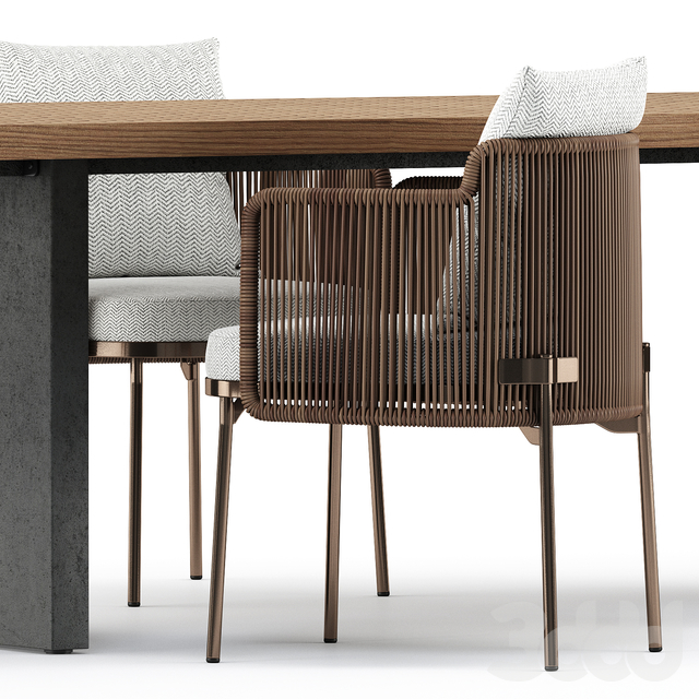 TAPE CORD chair and Quadrado Table by Minotti