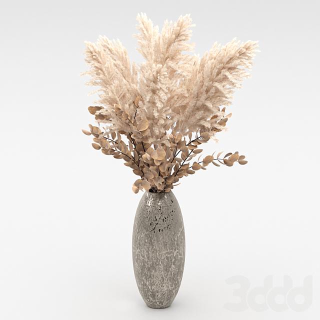 Букет из сухоцвета в вазе