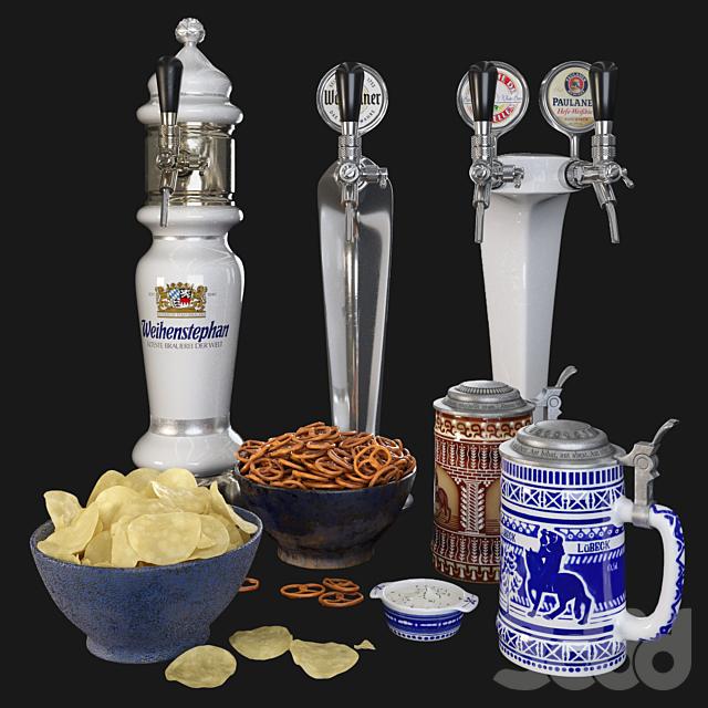 Beer towers, beer mugs & snacks