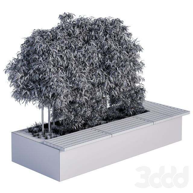 Urban Furniture / Architecture Bench with Plants Box02