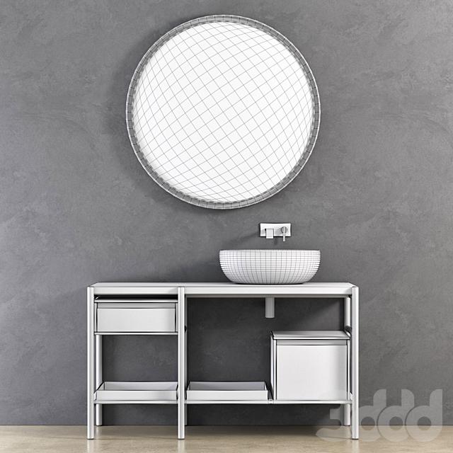 NIC Design Velo sectional unit, SOLO mixer, MILK washbasin, PARENTESI round mirror