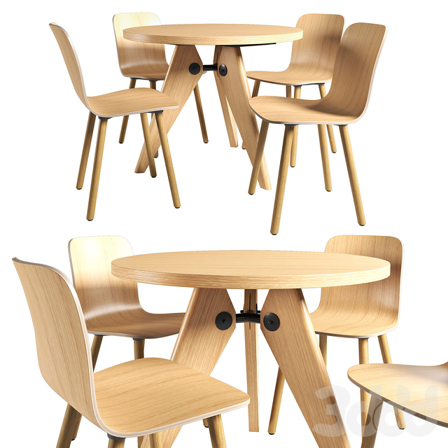 Vitra Table Gueridon and Chair HAL Ply Wood