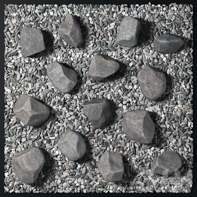 Square pebble stone street decor / Площадь из гальки с камнями уличный декор