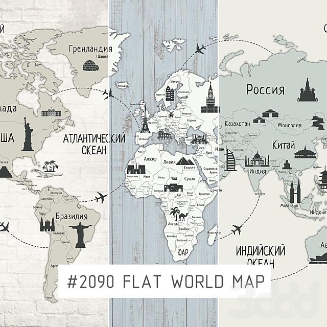 Creativille   Wallpapers   2090 flat world map