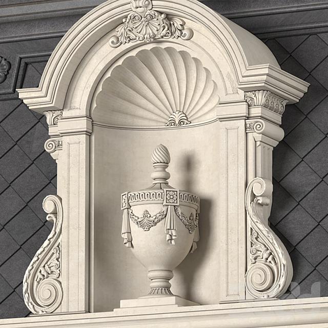 Крыша классического фасада частного дома с декорами.Roof fasad set