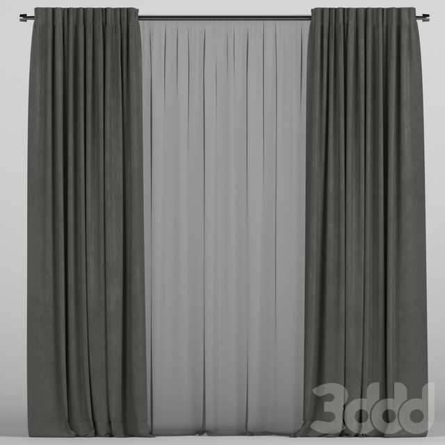 Чёрные шторы с чёрным тюлем
