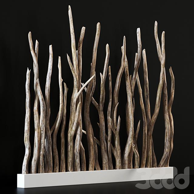 Planter wall branch crooked old n1 / Кашпо перегородка из старых кривых веток