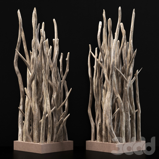Planter wall branch crooked old n3 / Кашпо из кривых веток