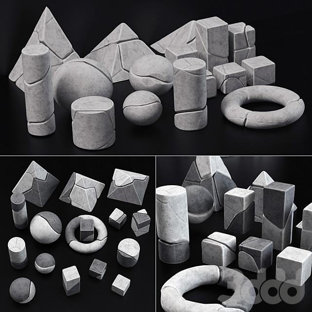 Stone splinter geometry decorative n1 / Декор из осколков геометрических фигур