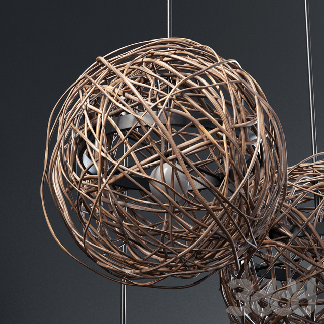 Branch sphere cage lamp n1 / Люстра сфера из веток