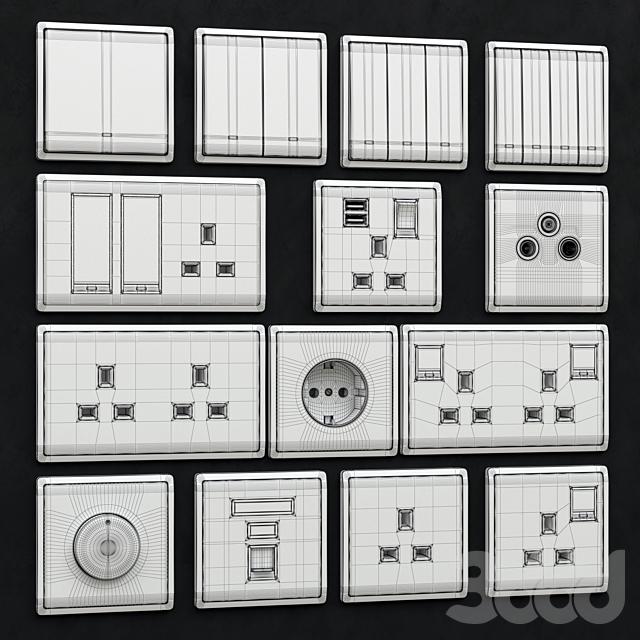 Schneider Pieno switches & sockets Aluminum Silver