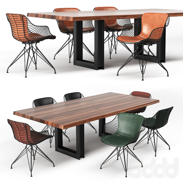 SIGMA DRIVE Table and WIRE DINING CHAIR