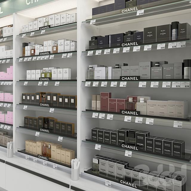 Торговый стеллаж с парфюмерией Chanel