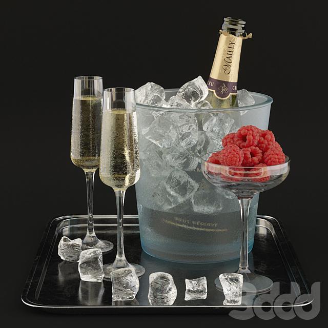 Шампанское с малиной