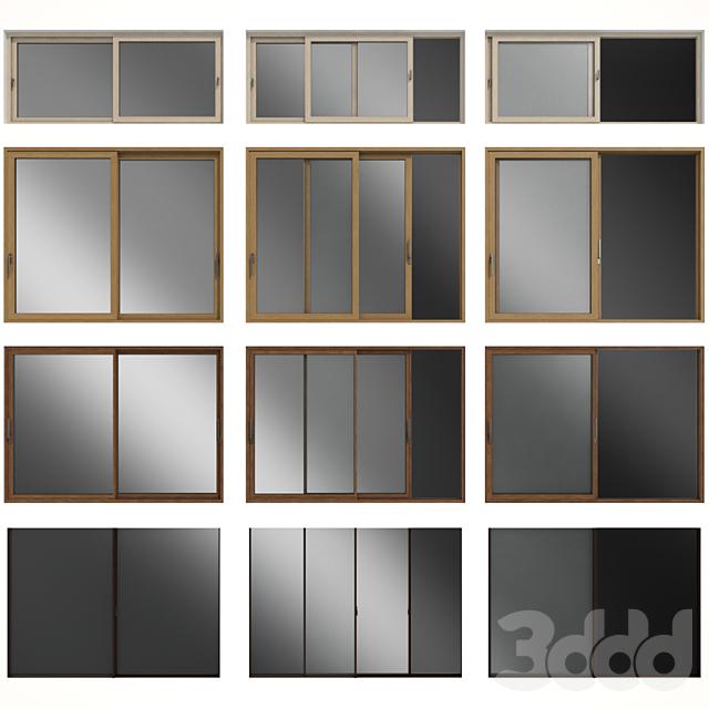 Раздвижные витражные деревянные окна и двери / Sliding stained glass wooden windows & door