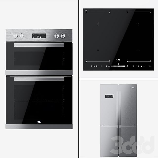 Beko - сдвоенный духовой шкаф BDQF22300, холодильник GN1416221Z и варочная поверхность HQI64501FHT.