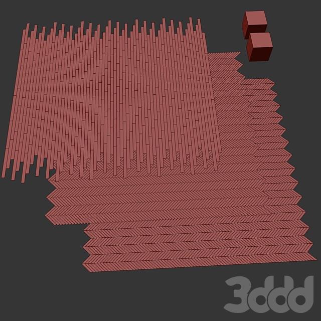 Паркет Дуб 2 вида раскладка ёлочка, шеврон и линейная setduo26