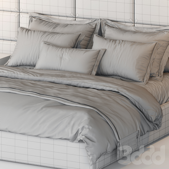 RH Modena Extended Panel Rectangular Channel Fabric Platform Bed