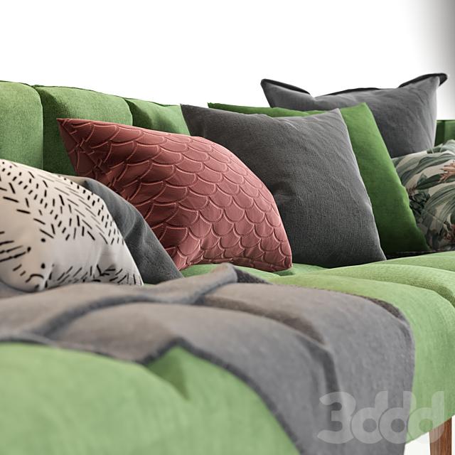 Green Chaise End Corner Sofa