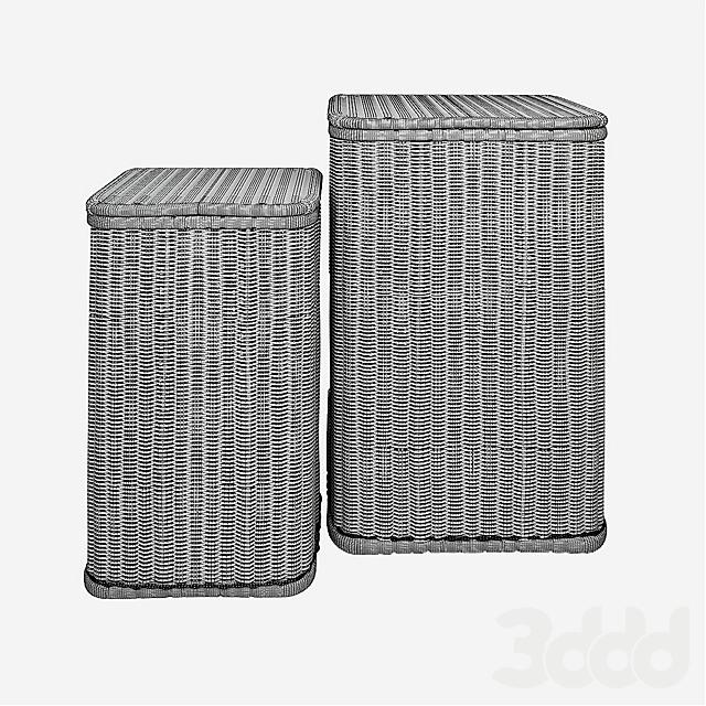 Kok Maison Set of 2 Rattan Laundry Baskets