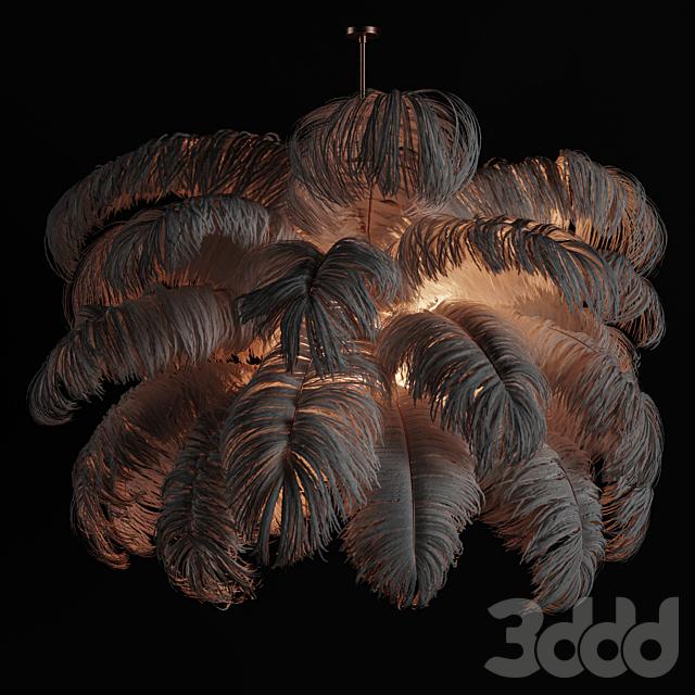 Natural Ostrich Feather Modern Chandelier