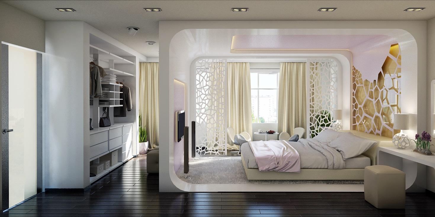 Фото дизайна интерьера спальни с лоджией..