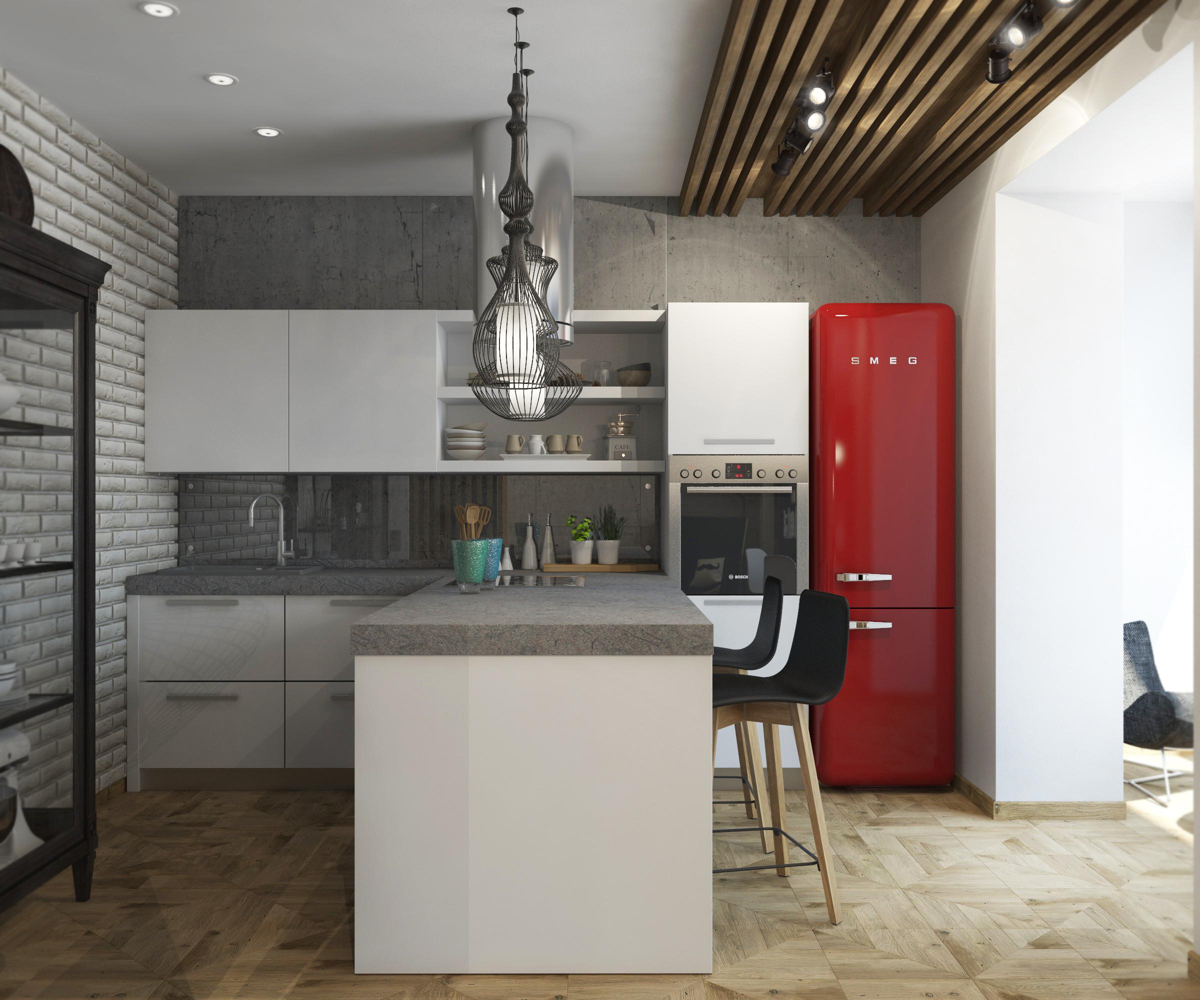 современная кухня гостиная с элементами стиля Loft галерея 3dddru